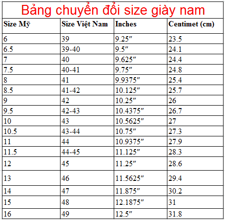 American Shoe Size American And Vietnamese Size Conversion Table