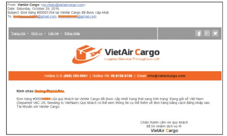 email Instructions for sending packages from the U.S. to VN