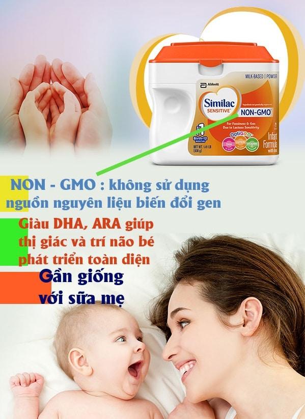 Similac-sensitive-Non-GMO2 Sữa Similac Sensitive NON-GMO chống đầy hơi, tiêu hóa kém và nôn trớ, không biến đổi gen