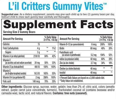 thanh-phan-Gummy_Vites_Keo_deo_bo_sung-vitamin_275vien L'IL CRITTERS GUMMY VITES 190 VIÊN-KẸO DẺO BỔ SUNG VITAMIN