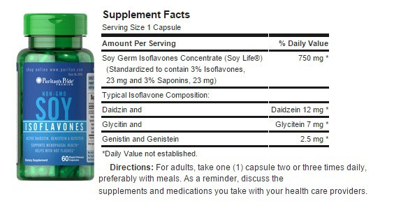 thanh-phan-Soy-Isoflavones Viên Uống Mầm Đậu Nành Non Gmo Soy Isoflavones 120 Viên Của Mỹ