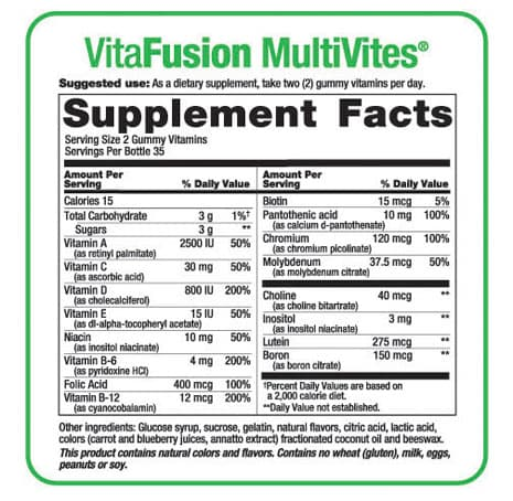 thanh-phan-keo-vitamin-Vitafusion-Women's-2 Kẹo Vitamin Dành Cho Phụ Nữ – Vitafusion Women's Multivitamin 220 Viên