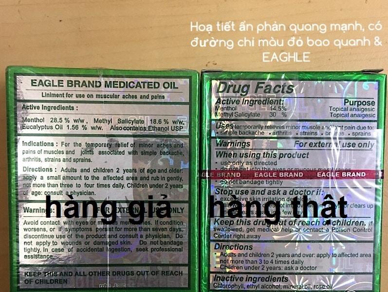 phan-biet-dau-gio-xanh-that-gia-3 Dầu gió xanh Mỹ hiệu con Ó Eagle Brand Medicated Oil 24ml