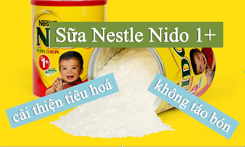 sua-nestle-nido-1-cai-thien-tieu-hoa-khong-tao-bon Sữa Nestle Nido Kinder 1+ nắp đỏ 2.2kg của hãng Nestle Thuỵ Sỹ