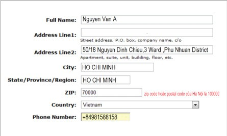 billingaddress Instructions to ship self-ordered packages to VN
